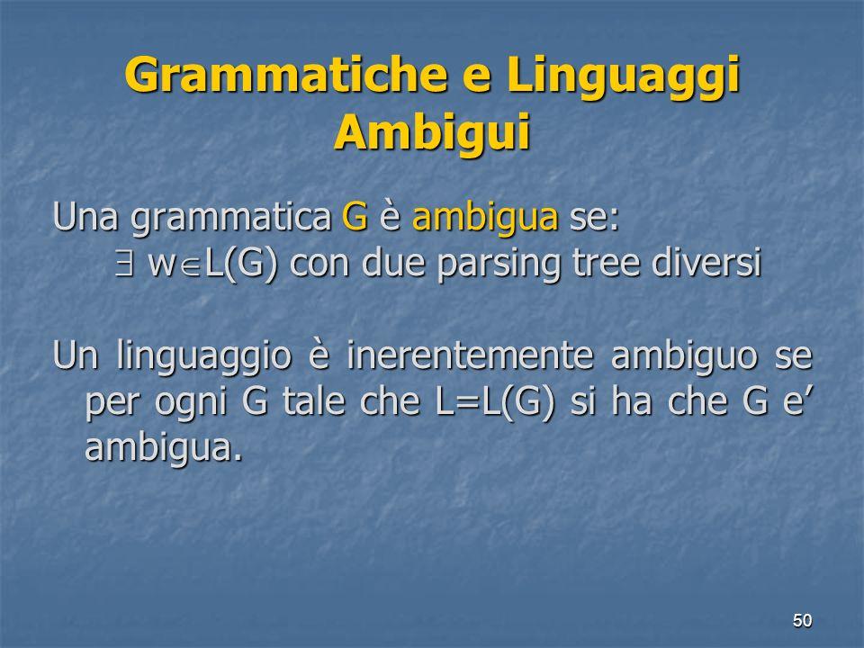 50 Grammatiche e Linguaggi Ambigui Una grammatica G è ambigua se: w L(G) con due parsing tree diversi w L(G) con due parsing tree diversi Un linguaggi