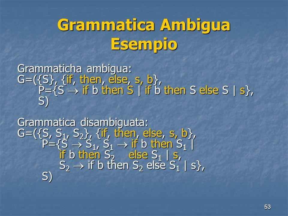 53 Grammatica Ambigua Esempio Grammaticha ambigua: G=({S}, {if, then, else, s, b}, P={S if b then S | if b then S else S | s}, P={S if b then S | if b
