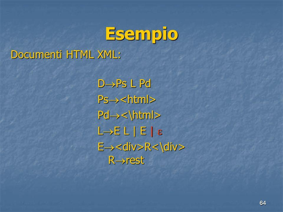 64 Esempio Documenti HTML XML: D Ps L Pd Ps Ps Pd Pd L E L | E | L E L | E | E R R rest