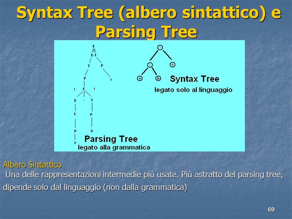 69 Syntax Tree (albero sintattico) e Parsing Tree Syntax Tree (albero sintattico) e Parsing Tree Albero Sintattico Una delle rappresentazioni intermed