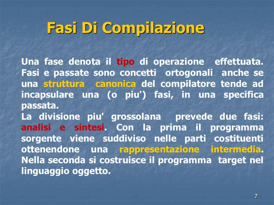 7 Fasi Di Compilazione Fasi Di Compilazione Una fase denota il tipo di operazione effettuata. Fasi e passate sono concetti ortogonali anche se una str