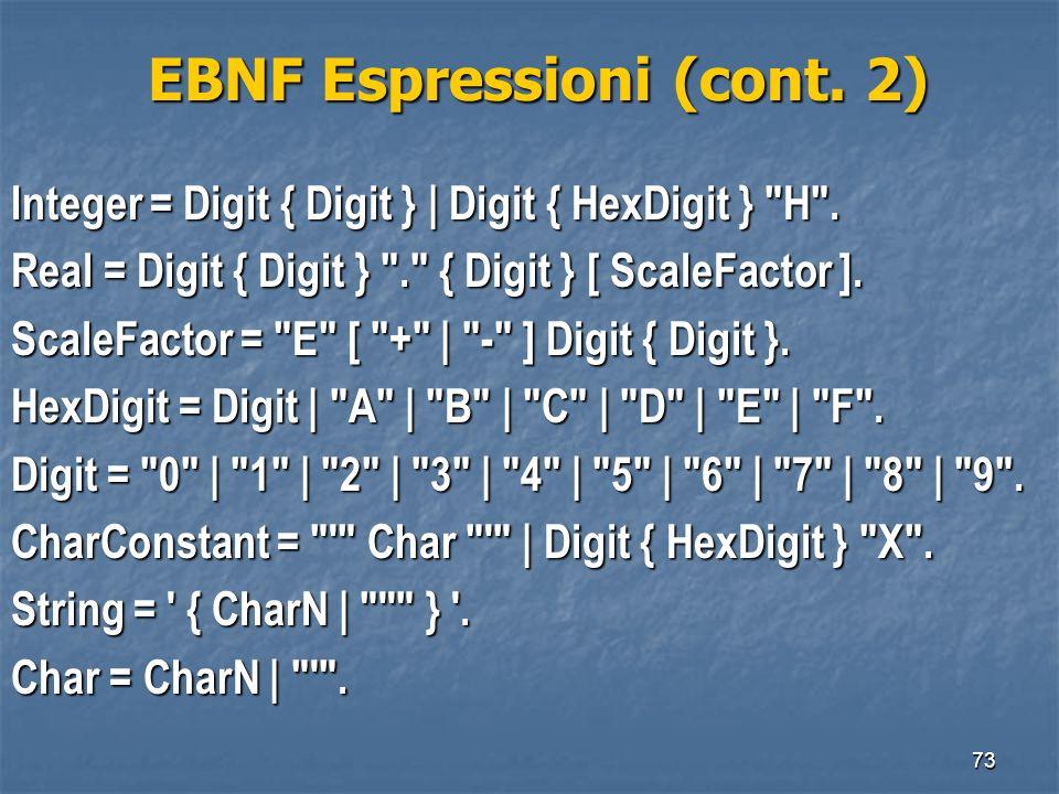 73 EBNF Espressioni (cont. 2) EBNF Espressioni (cont. 2) Integer = Digit { Digit } | Digit { HexDigit }