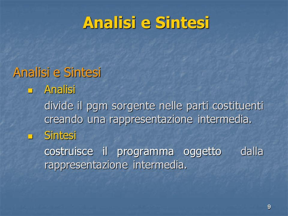 9 Analisi e Sintesi Analisi Analisi divide il pgm sorgente nelle parti costituenti creando una rappresentazione intermedia. Sintesi Sintesi costruisce