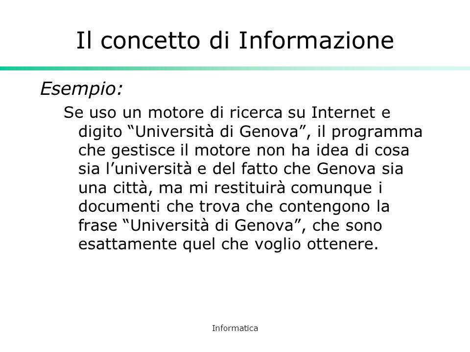 Informatica Il concetto di Informazione Esempio: Se uso un motore di ricerca su Internet e digito Università di Genova, il programma che gestisce il m
