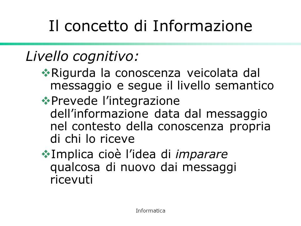 Informatica Il concetto di Informazione Livello cognitivo: Rigurda la conoscenza veicolata dal messaggio e segue il livello semantico Prevede lintegra