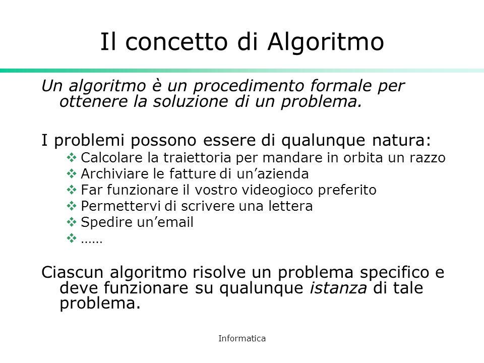 Informatica Il concetto di Algoritmo Un algoritmo è un procedimento formale per ottenere la soluzione di un problema. I problemi possono essere di qua
