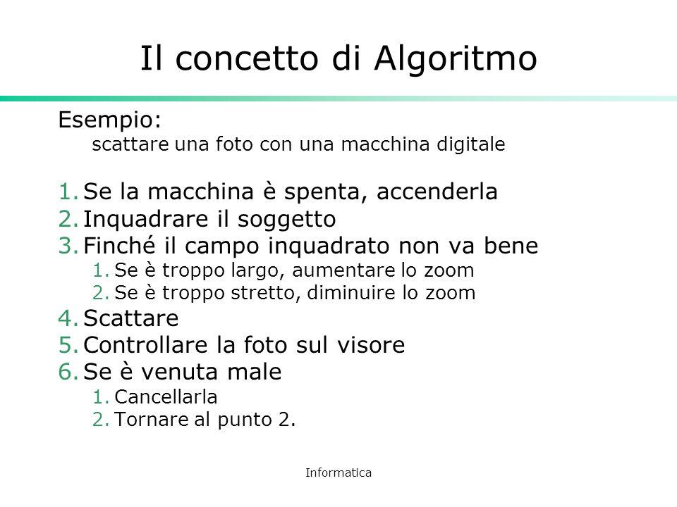 Informatica Il concetto di Algoritmo Esempio: scattare una foto con una macchina digitale 1.Se la macchina è spenta, accenderla 2.Inquadrare il sogget
