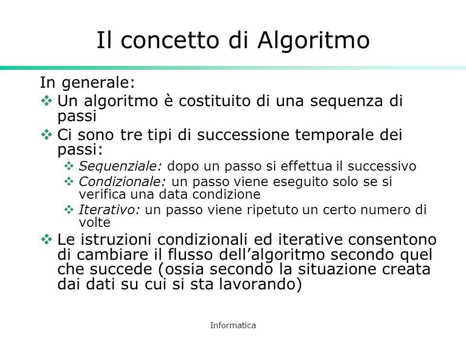 Informatica Il concetto di Algoritmo In generale: Un algoritmo è costituito di una sequenza di passi Ci sono tre tipi di successione temporale dei pas