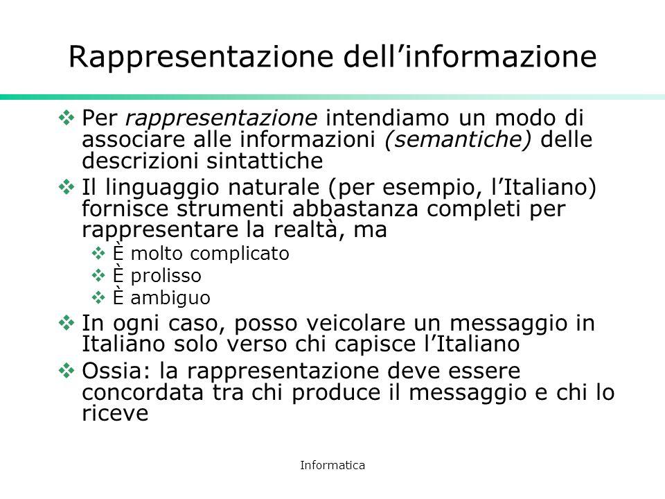 Informatica Rappresentazione dellinformazione Per rappresentazione intendiamo un modo di associare alle informazioni (semantiche) delle descrizioni si