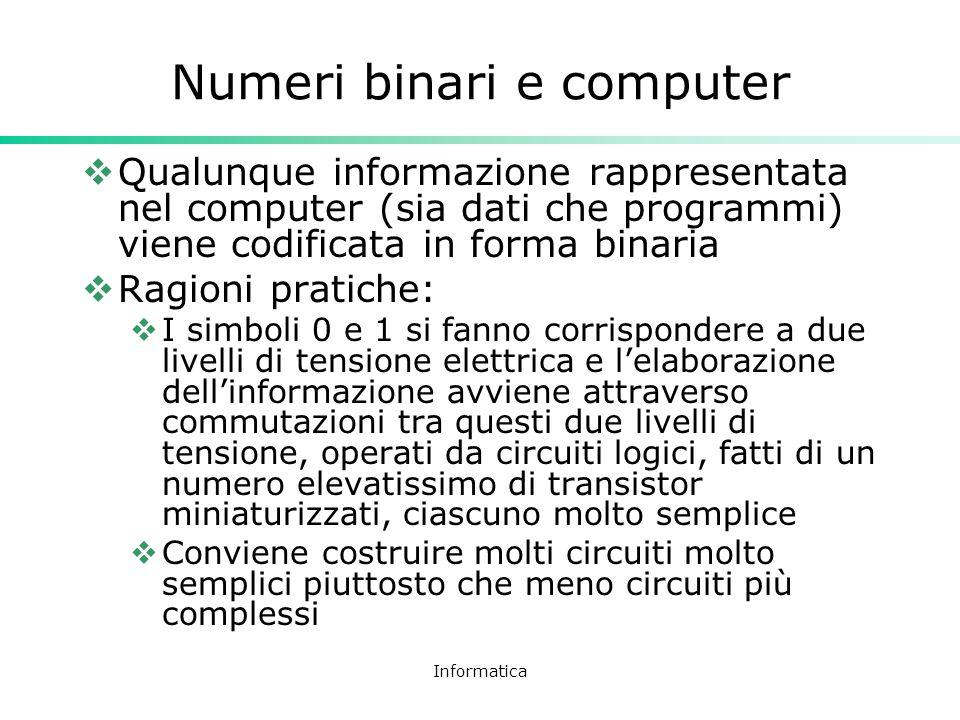 Informatica Numeri binari e computer Qualunque informazione rappresentata nel computer (sia dati che programmi) viene codificata in forma binaria Ragi