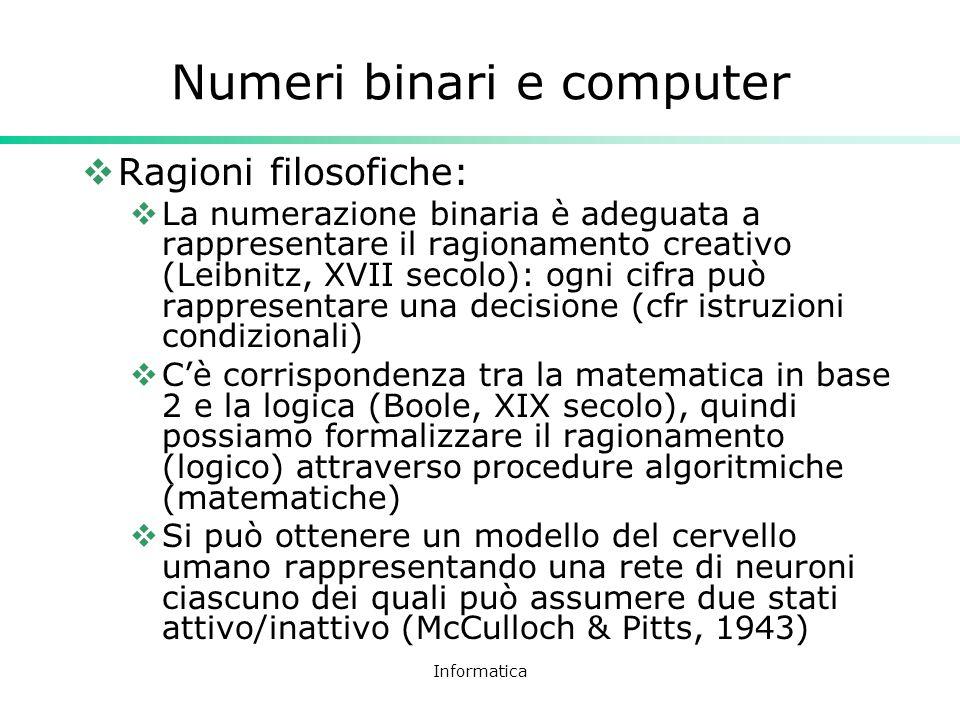 Informatica Numeri binari e computer Ragioni filosofiche: La numerazione binaria è adeguata a rappresentare il ragionamento creativo (Leibnitz, XVII s