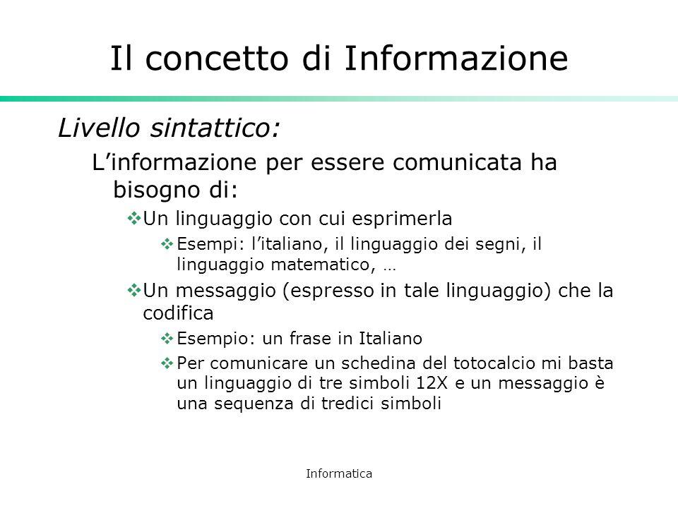 Informatica Il concetto di Informazione Esempio: il numero dieci In Italiano: dieci In Inglese: ten In notazione decimale: 10 In numeri romani: X In notazione binaria: 1010 In notazione ottale: 12 In notazione esadecimale: A Tutti questi messaggi esprimono il numero dieci, ciascuno in un linguaggio diverso, ma nessuno è il numero dieci