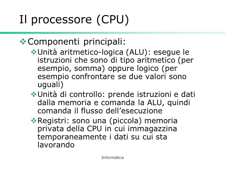 Informatica Il processore (CPU) Componenti principali: Unità aritmetico-logica (ALU): esegue le istruzioni che sono di tipo aritmetico (per esempio, s