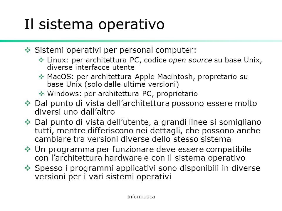 Informatica Il sistema operativo Sistemi operativi per personal computer: Linux: per architettura PC, codice open source su base Unix, diverse interfa