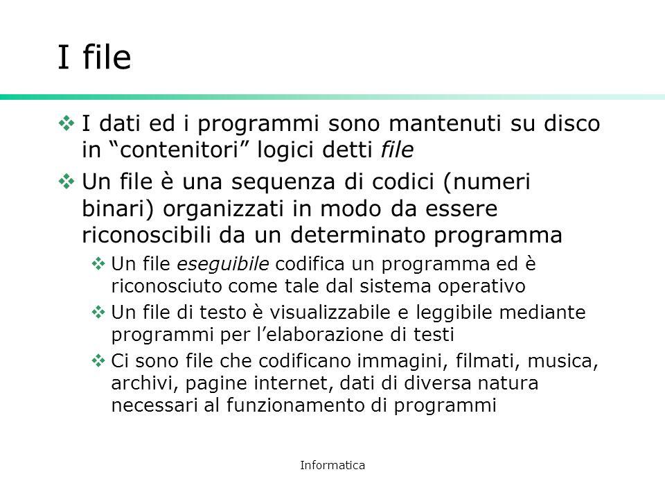 Informatica I file I dati ed i programmi sono mantenuti su disco in contenitori logici detti file Un file è una sequenza di codici (numeri binari) org