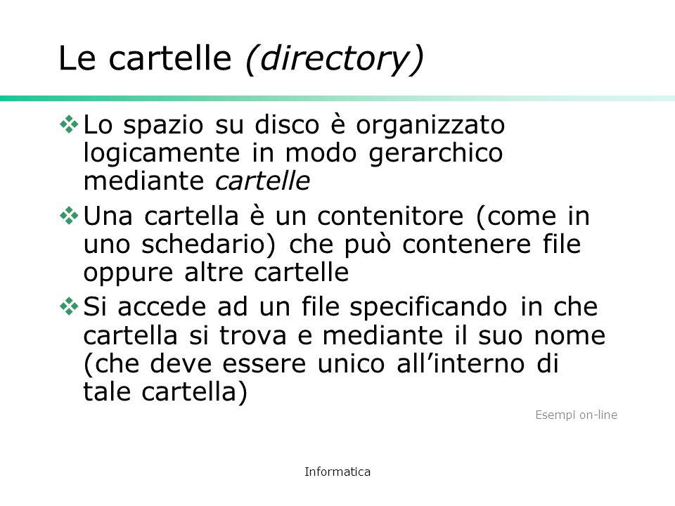 Informatica Le cartelle (directory) Lo spazio su disco è organizzato logicamente in modo gerarchico mediante cartelle Una cartella è un contenitore (c