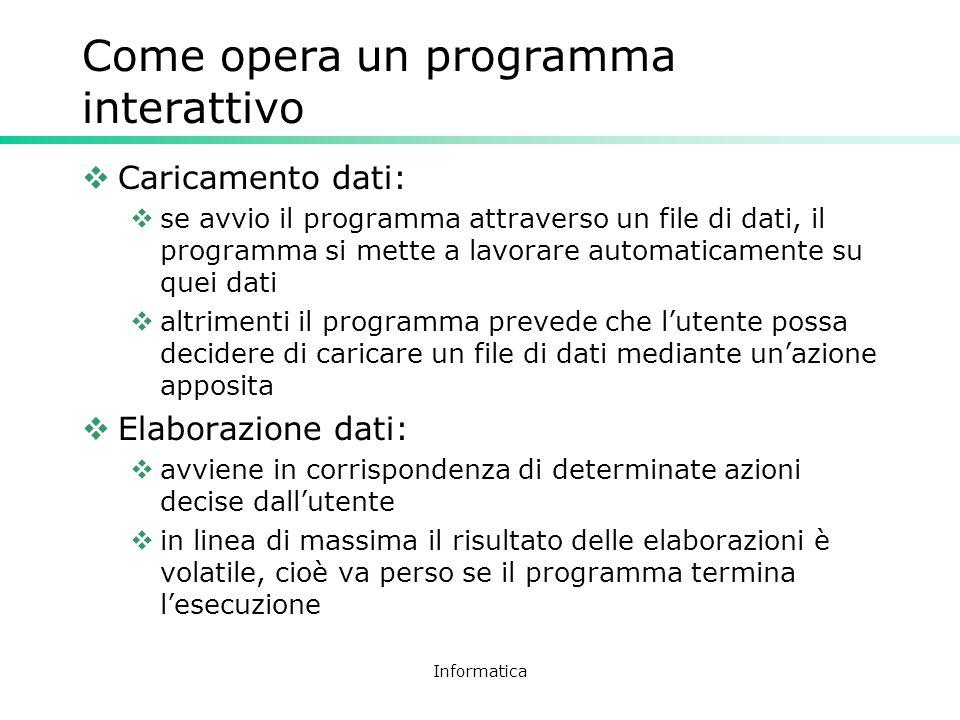 Informatica Come opera un programma interattivo Caricamento dati: se avvio il programma attraverso un file di dati, il programma si mette a lavorare a
