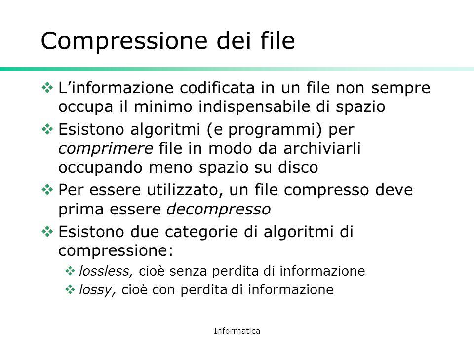 Informatica Compressione dei file Linformazione codificata in un file non sempre occupa il minimo indispensabile di spazio Esistono algoritmi (e progr