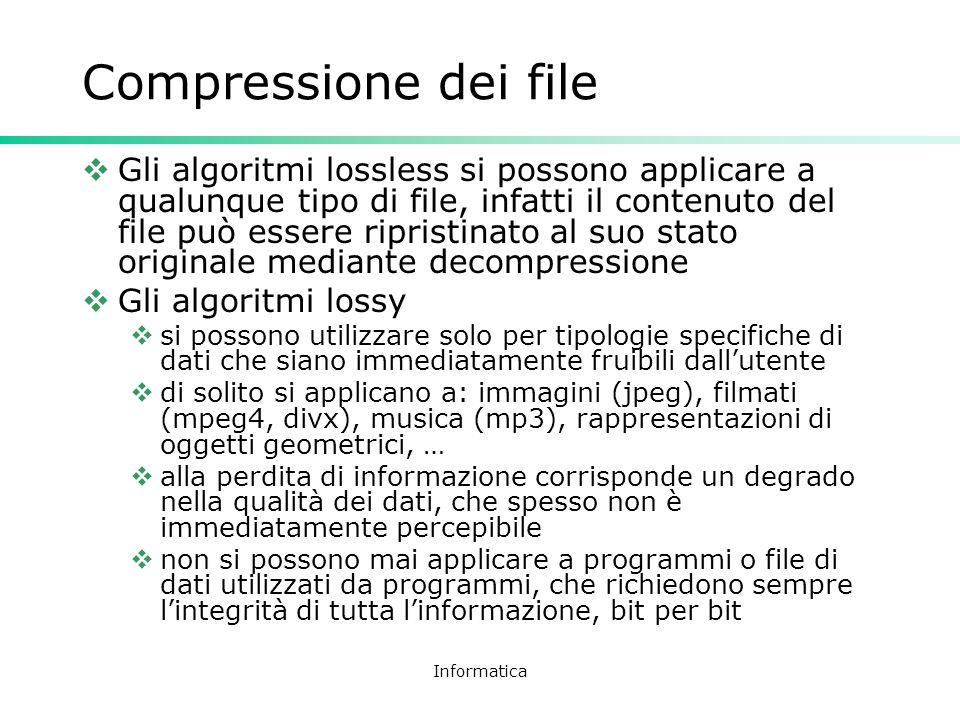 Informatica Compressione dei file Gli algoritmi lossless si possono applicare a qualunque tipo di file, infatti il contenuto del file può essere ripri