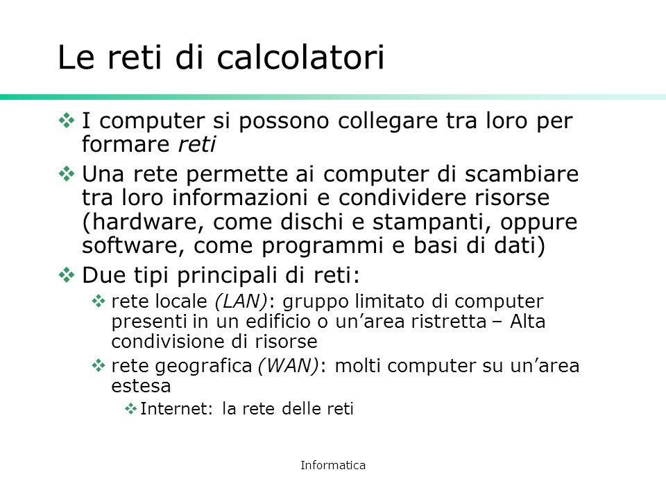 Informatica Le reti di calcolatori I computer si possono collegare tra loro per formare reti Una rete permette ai computer di scambiare tra loro infor