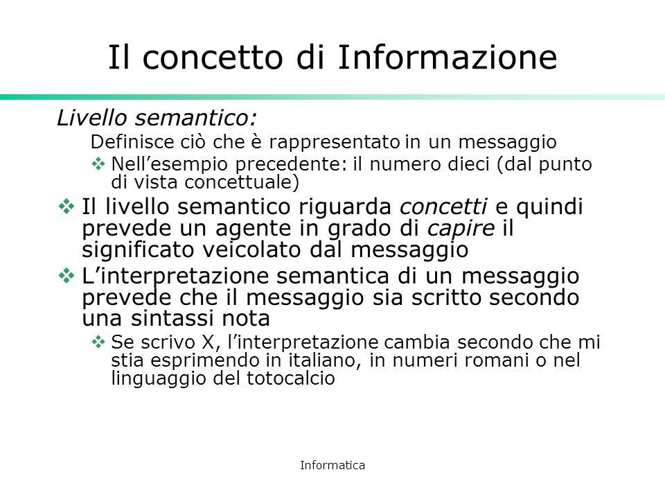 Informatica Il concetto di Informazione Livello semantico: Definisce ciò che è rappresentato in un messaggio Nellesempio precedente: il numero dieci (
