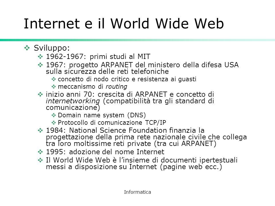 Informatica Internet e il World Wide Web Sviluppo: 1962-1967: primi studi al MIT 1967: progetto ARPANET del ministero della difesa USA sulla sicurezza