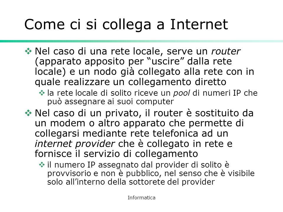 Informatica Come ci si collega a Internet Nel caso di una rete locale, serve un router (apparato apposito per uscire dalla rete locale) e un nodo già