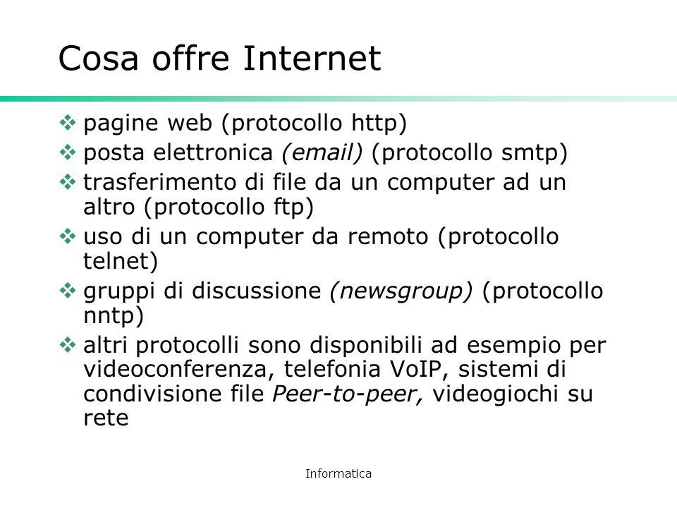 Informatica Cosa offre Internet pagine web (protocollo http) posta elettronica (email) (protocollo smtp) trasferimento di file da un computer ad un al