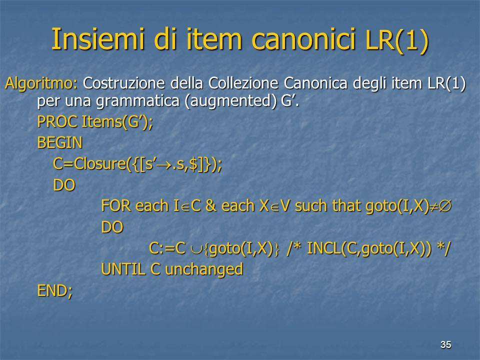 35 Insiemi di item canonici LR(1) Algoritmo: Costruzione della Collezione Canonica degli item LR(1) per una grammatica (augmented) G.