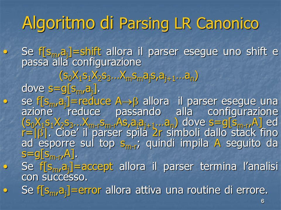 6 Algoritmo di Parsing LR Canonico Se f[s m,a j ]=shift allora il parser esegue uno shift e passa alla configurazioneSe f[s m,a j ]=shift allora il parser esegue uno shift e passa alla configurazione (s 0 X 1 s 1 X 2 s 3 …X m s m a j s,a j+1 …a n ) (s 0 X 1 s 1 X 2 s 3 …X m s m a j s,a j+1 …a n ) dove s=g[s m,a j ].