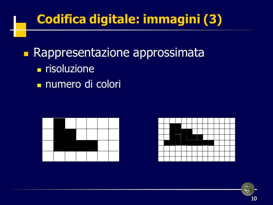 11 Codifica digitale: immagini (4) Formati BMP GIF Compressione: JPEG non è necessario codificare tutto, basta saper ricostruire limmagine si memorizzano solo alcuni pixel (alcune righe o colonne) gli altri pixel vengono ricostruiti per interpolazione Immagini in movimento Digitalizzazione di fotogrammi Compressione: MPEG, differenza tra fotogrammi