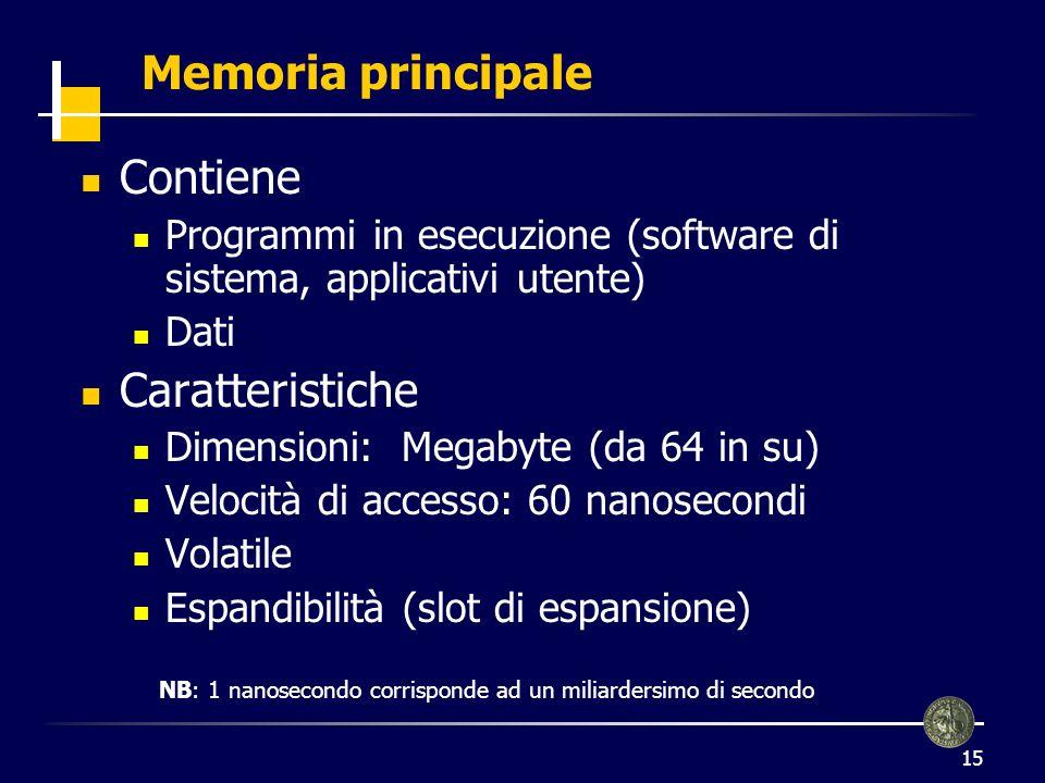 16 Memoria principale (2) 1 Kilobyte = 2 byte = 1024 byte 1 Megabyte = 2 Kilobyte, circa 1.000.000 di byte 1 Gigabyte = 2 Megabyte, circa 1.000.000.000 di byte 1 Terabyte = 2 Gigabyte 10