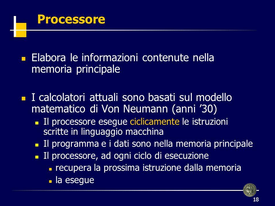 19 Processore (2) Il processore esegue una istruzione ad ogni ciclo di clock velocità di esecuzioni misurata in MHz (tempo di clock) Esistono diversi tipi di processori con diversi insiemi di istruzioni (macchina) Es.