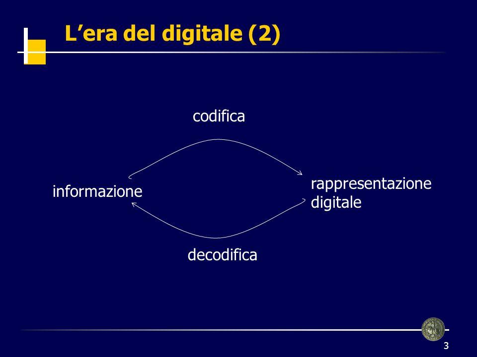 4 Linguaggio digitale Linguaggio con 2 soli simboli (spesso 0 e 1) BIT (Binary digiT) Frasi: aggregazioni o sequenze di 0 e 1 È possibile codificare ogni tipo di informazione testo immagini suoni