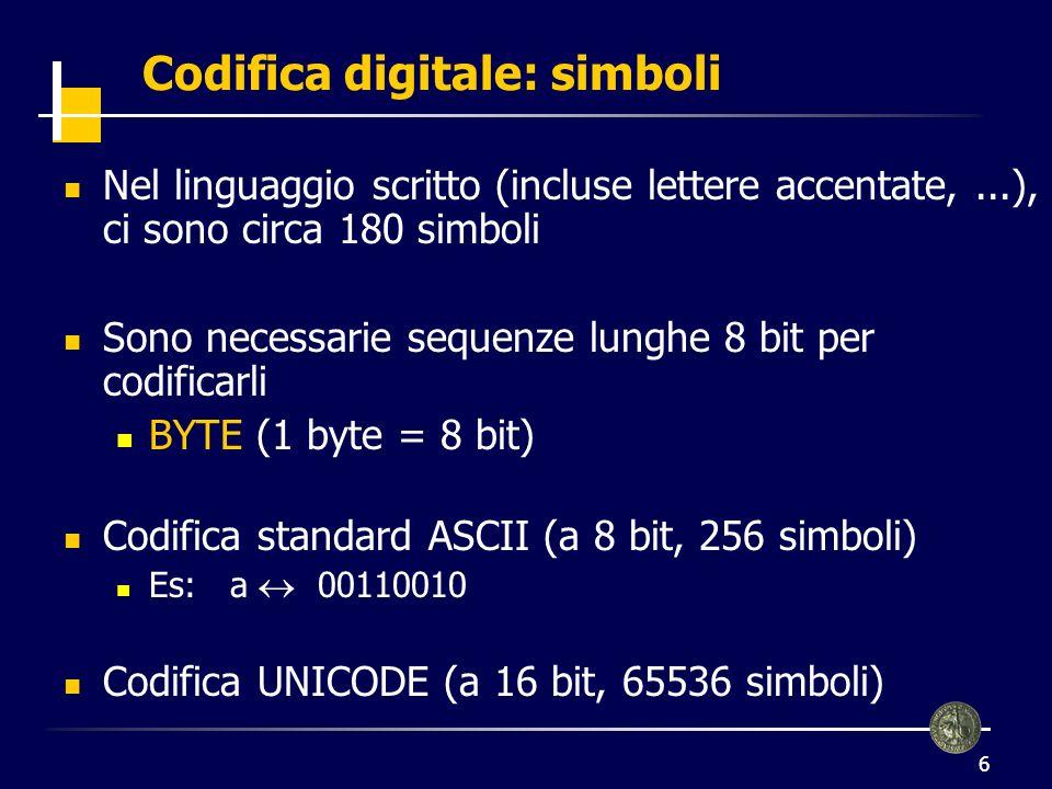 7 Un testo è formato dalla sequenza dei codici dei simboli che lo costituiscono Codifica digitale: testi il po --> 01101001 01101100 00000000 01110000 01101111