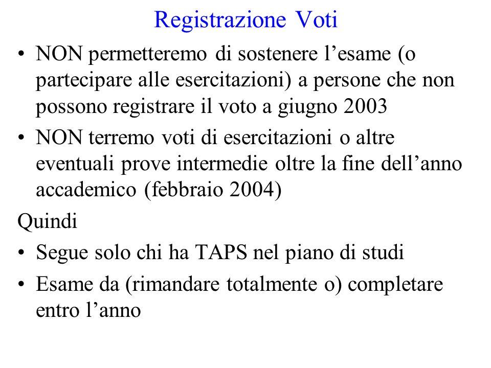 Registrazione Voti NON permetteremo di sostenere lesame (o partecipare alle esercitazioni) a persone che non possono registrare il voto a giugno 2003