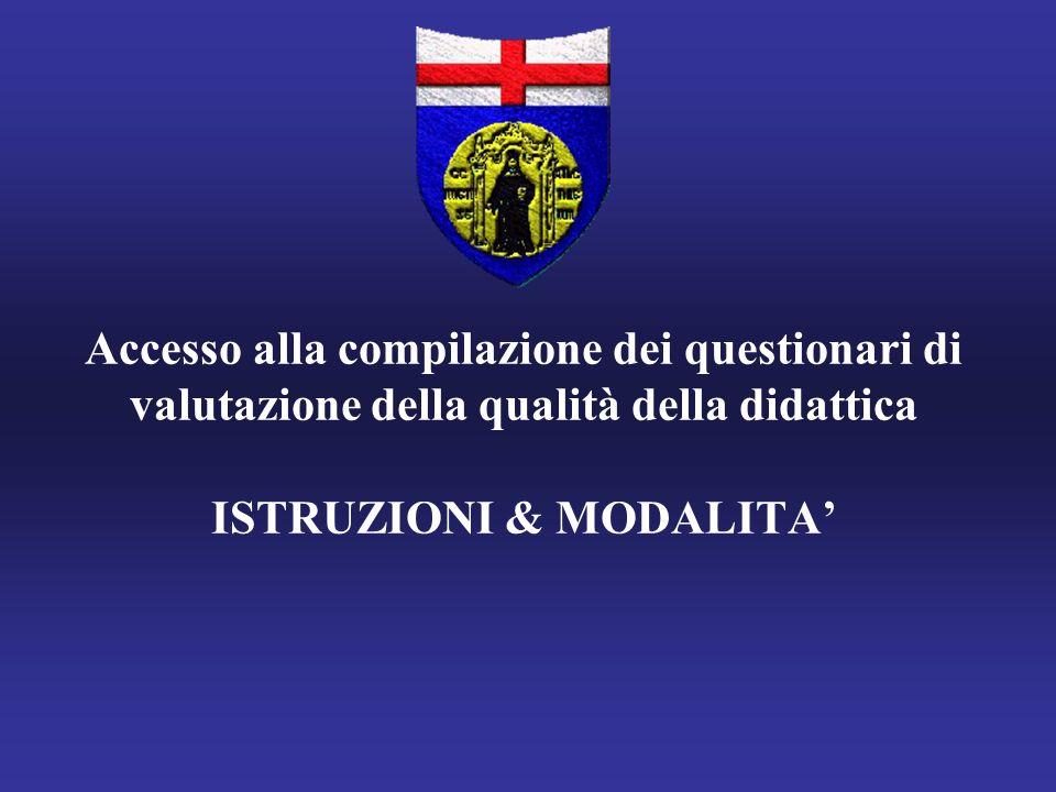 Accesso alla compilazione dei questionari di valutazione della qualità della didattica ISTRUZIONI & MODALITA