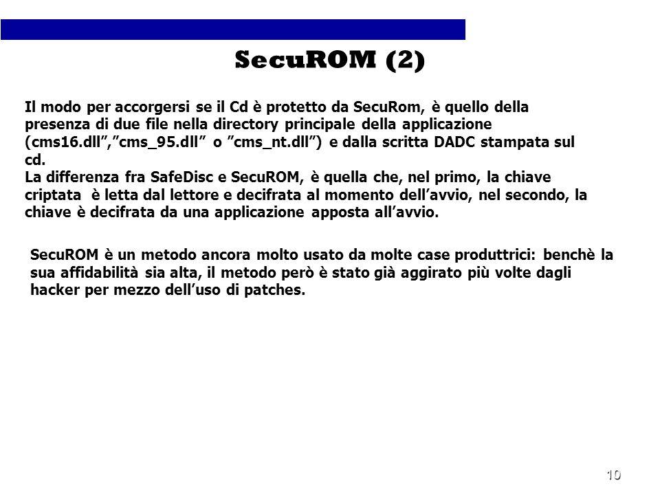 10 Il modo per accorgersi se il Cd è protetto da SecuRom, è quello della presenza di due file nella directory principale della applicazione (cms16.dll