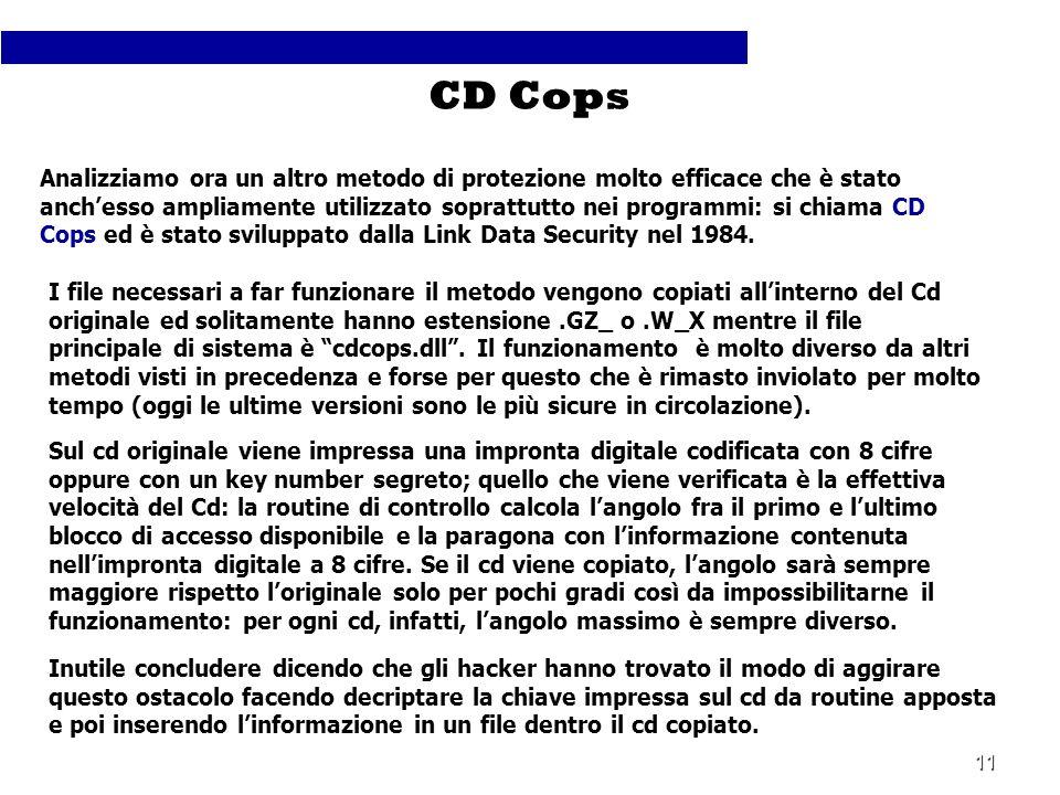 11 Analizziamo ora un altro metodo di protezione molto efficace che è stato anchesso ampliamente utilizzato soprattutto nei programmi: si chiama CD Co