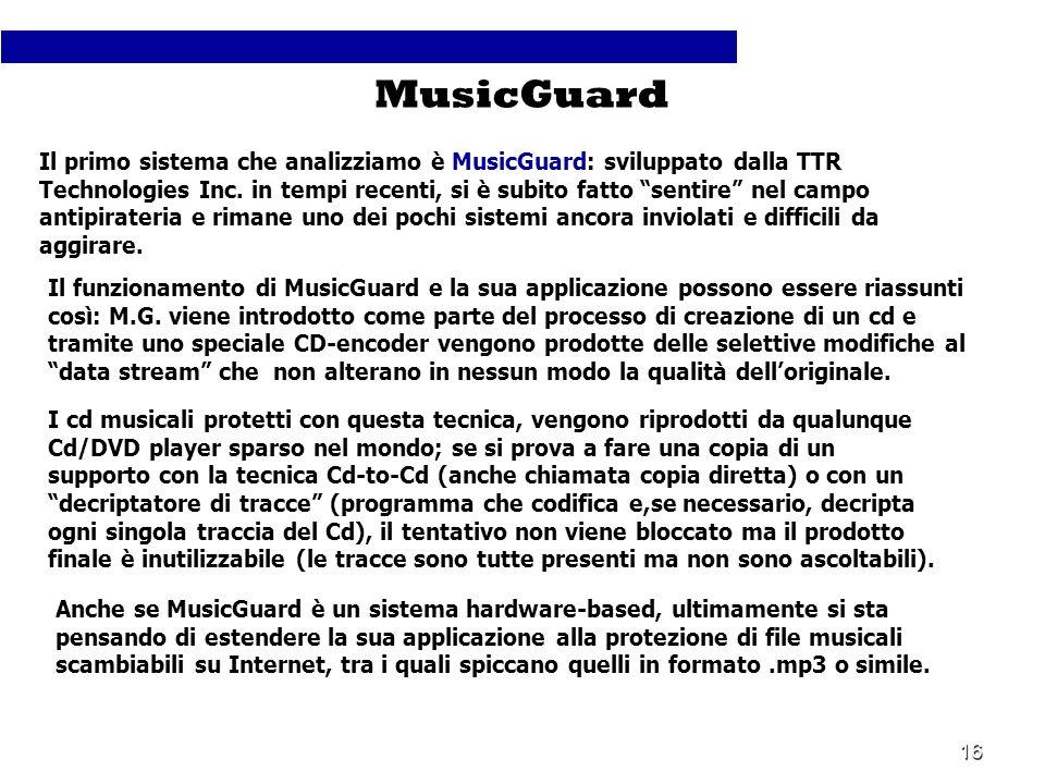 16 Il primo sistema che analizziamo è MusicGuard: sviluppato dalla TTR Technologies Inc. in tempi recenti, si è subito fatto sentire nel campo antipir