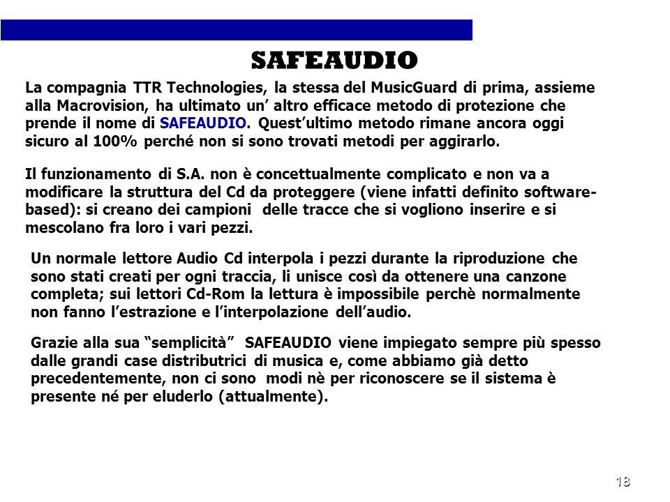 18 La compagnia TTR Technologies, la stessa del MusicGuard di prima, assieme alla Macrovision, ha ultimato un altro efficace metodo di protezione che