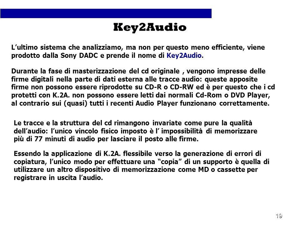 19 Lultimo sistema che analizziamo, ma non per questo meno efficiente, viene prodotto dalla Sony DADC e prende il nome di Key2Audio. Key2Audio Durante