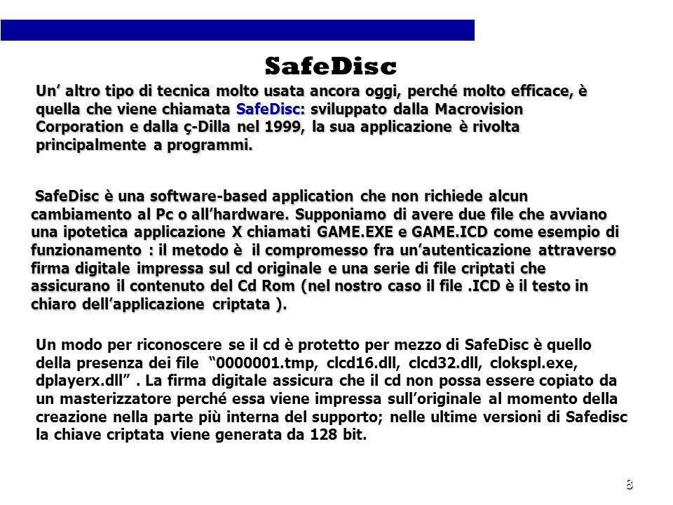 8 Un altro tipo di tecnica molto usata ancora oggi, perché molto efficace, è quella che viene chiamata SafeDisc: sviluppato dalla Macrovision Corporat