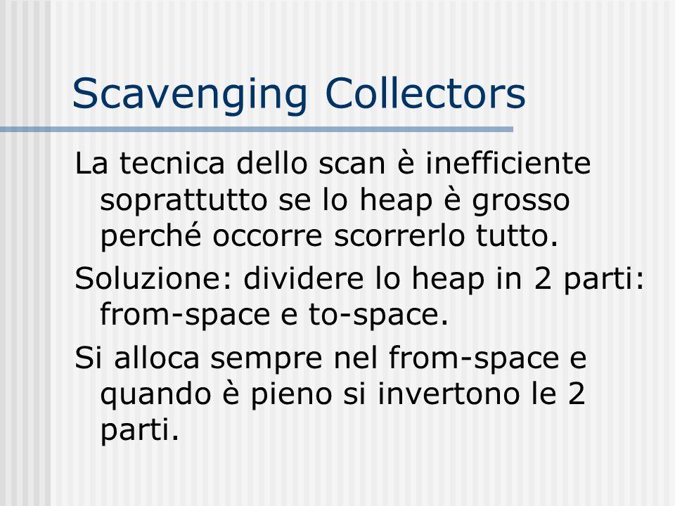 Scavenging Collectors La tecnica dello scan è inefficiente soprattutto se lo heap è grosso perché occorre scorrerlo tutto. Soluzione: dividere lo heap