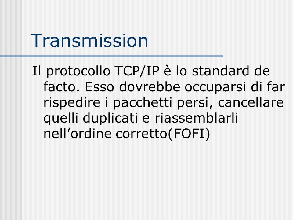 Transmission Il protocollo TCP/IP è lo standard de facto. Esso dovrebbe occuparsi di far rispedire i pacchetti persi, cancellare quelli duplicati e ri