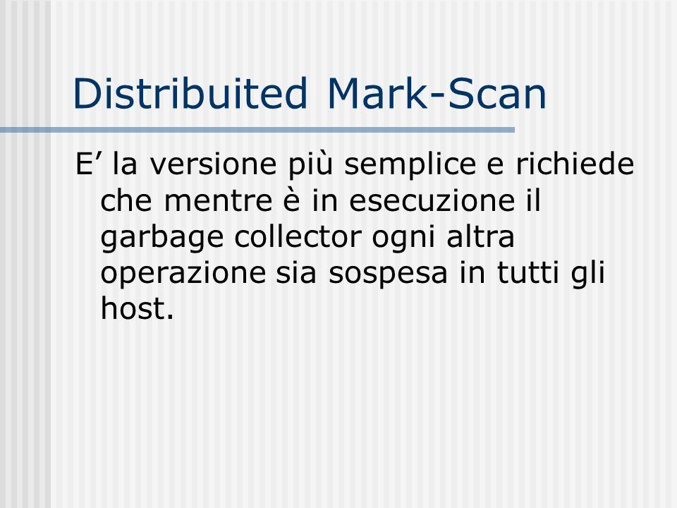 Distribuited Mark-Scan E la versione più semplice e richiede che mentre è in esecuzione il garbage collector ogni altra operazione sia sospesa in tutt