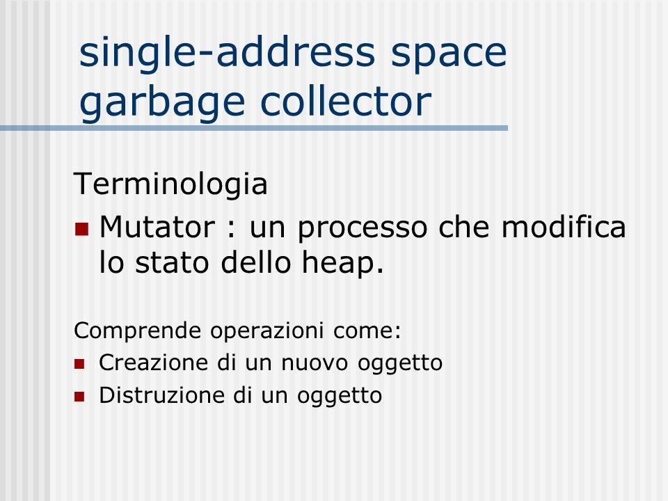single-address space garbage collector Terminologia Mutator : un processo che modifica lo stato dello heap. Comprende operazioni come: Creazione di un