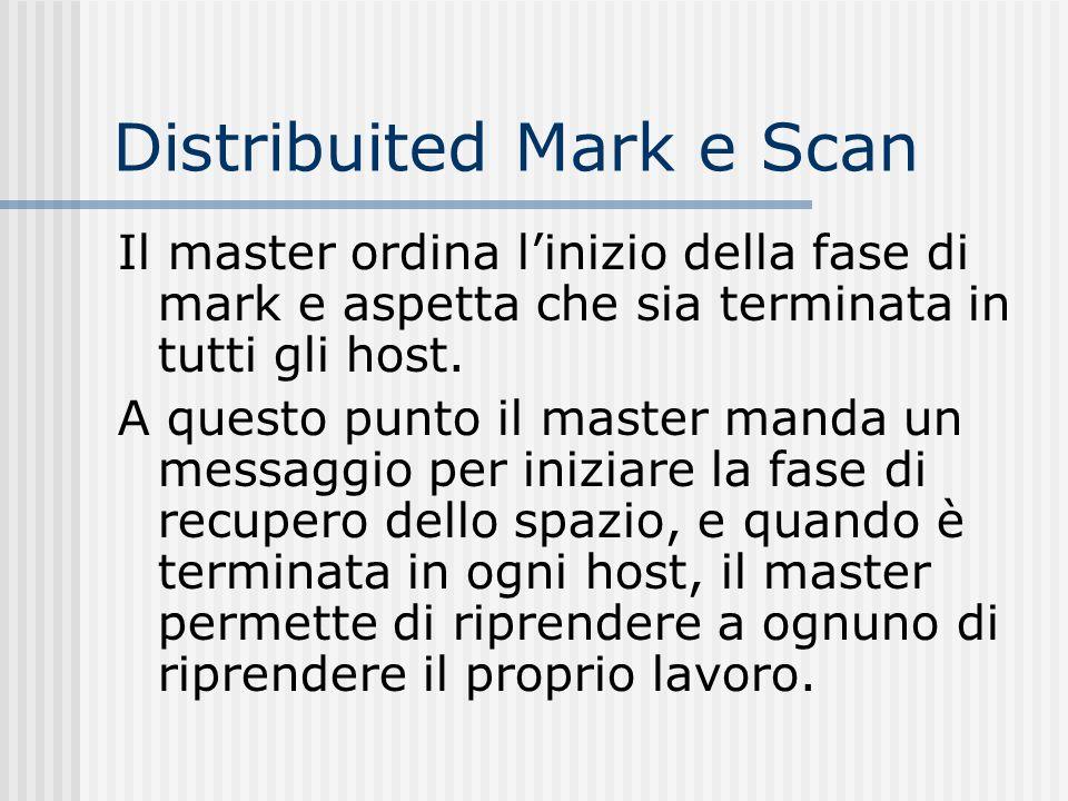 Distribuited Mark e Scan Il master ordina linizio della fase di mark e aspetta che sia terminata in tutti gli host. A questo punto il master manda un