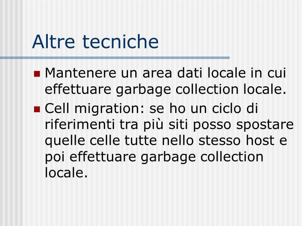 Altre tecniche Mantenere un area dati locale in cui effettuare garbage collection locale. Cell migration: se ho un ciclo di riferimenti tra più siti p