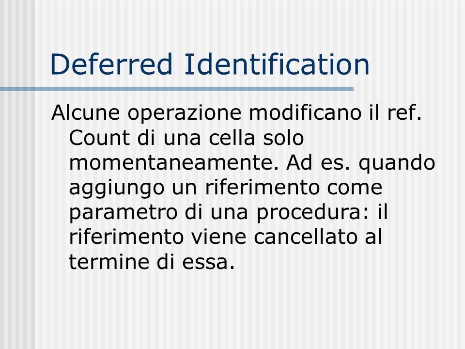 Deferred Identification Alcune operazione modificano il ref. Count di una cella solo momentaneamente. Ad es. quando aggiungo un riferimento come param